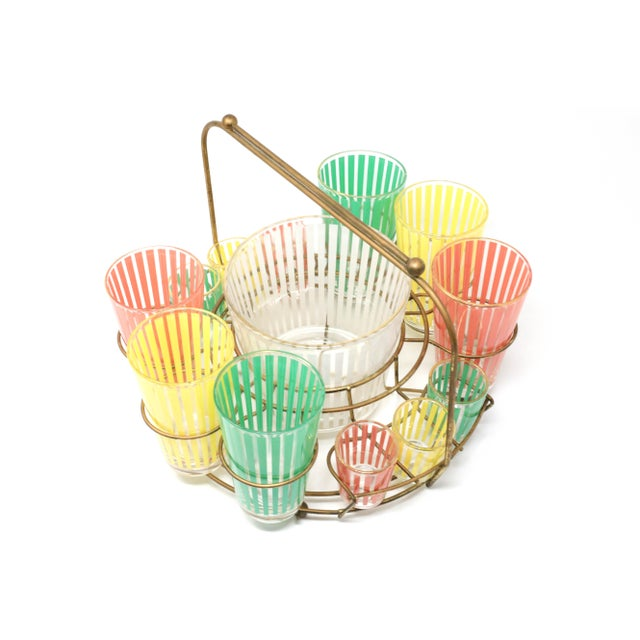 Vintage MCM Pastel Stripes Cocktail and Shot Glasses Barware With Ice Bucket and Brass Caddy - Set of 14 For Sale - Image 13 of 13
