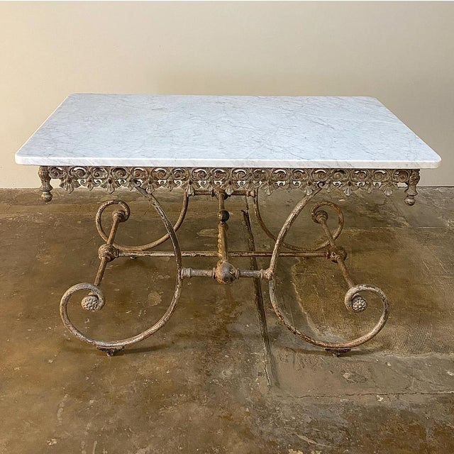 19th Century Iron Marble Top Confectioner's Table For Sale - Image 4 of 13