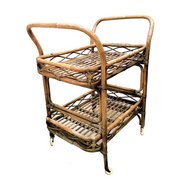 Bamboo 1950s Boho Chic Rattan Bamboo Rolling Serving Cart For Sale - Image 7 of 7