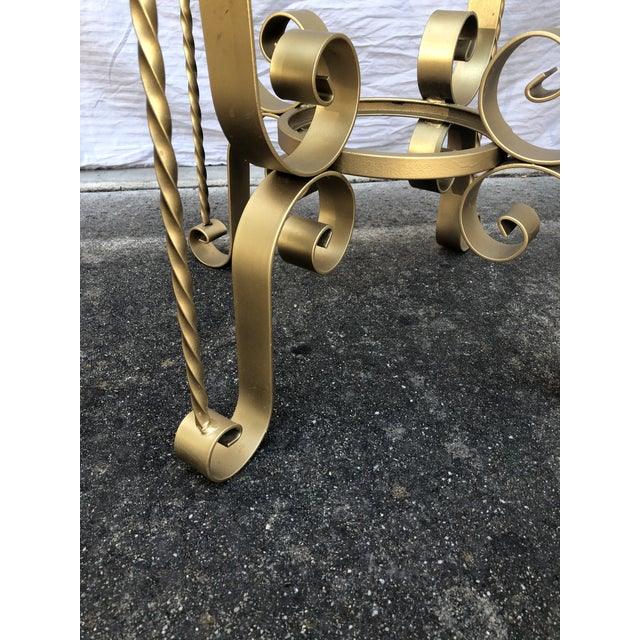 Mid 20th Century Antique Gold Hollywood Regency Metal Tables - A Pair For Sale - Image 5 of 9