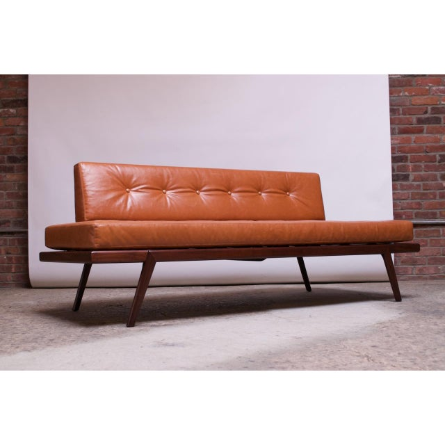Mid-Century Walnut and Leather Daybed / Settee by Mel Smilow For Sale - Image 13 of 13