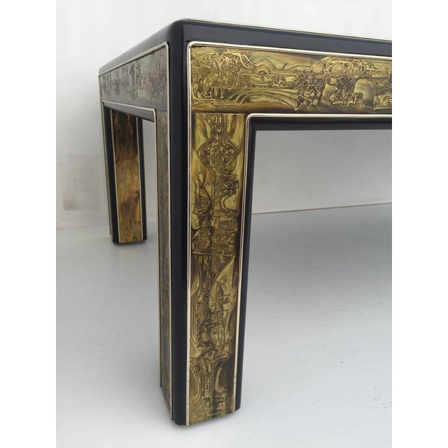 1970s 1970s Mid-Century Modern Bernhard Rohne for Mastercraft Acid Etched Brass Coffee Table For Sale - Image 5 of 8