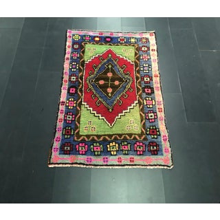 Traditional Anatolian Aztec Antique Blue Green Pink and Red Turkish Oushak Rug Preview