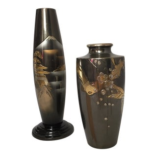 Pair of Mid-Century Japanese Mixed Metal Vases For Sale