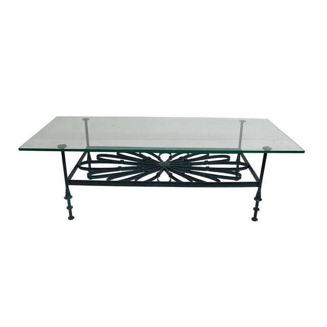 Decorator Wrought Iron & Glass Coffee Table - Image 3 of 7