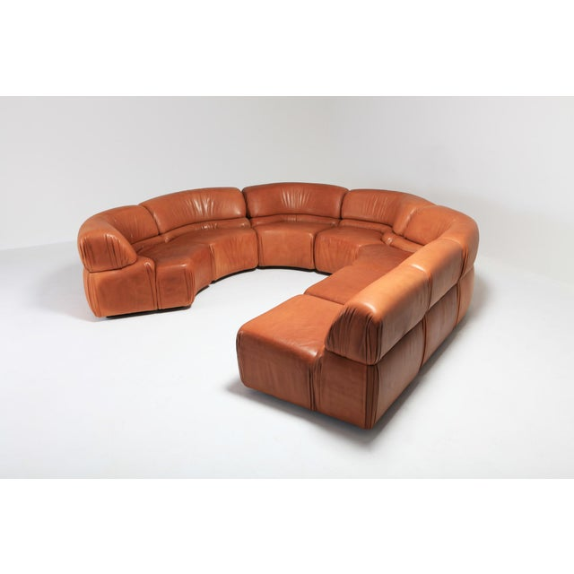 1970s Sectional Cognac Leather Sofa 'Cosmos' by De Sede, Switzerland For Sale - Image 5 of 10