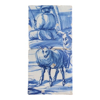 18th Century, Portuguese Baroque, Earthenware Fisherman and Two Sheep Tiles - a Pair For Sale