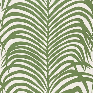 Sample - Schumacher Zebra Palm Pattern Animal Floral Wallpaper in Jungle Green For Sale