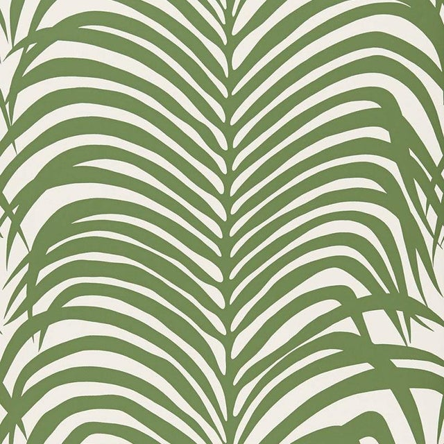 Sample - Schumacher Zebra Palm Pattern Animal Floral Wallpaper in Jungle Green For Sale