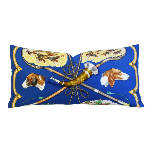 "Hermes Le Laissed Courre Hunt & Hounds Silk Feather/Down Pillow 34"" x 17"" - Image 1 of 12"