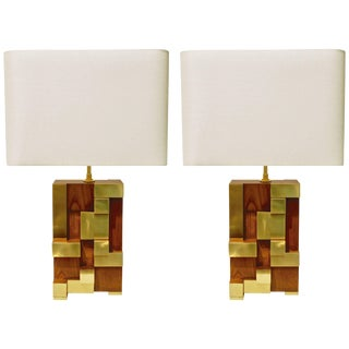 Contemporary Italian Architectural Stepped Wood and Brass Urban Lamps - a Pair For Sale
