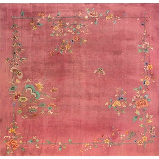 Antique Chinese Art Deco Rug- 11′8″ × 12′ For Sale