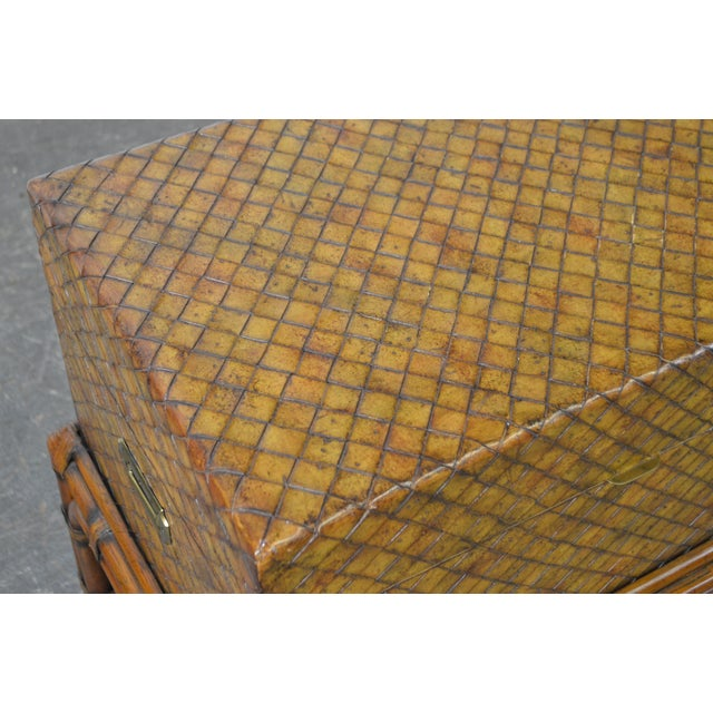 Maitland Smith Woven Leather Lidded Chest on Rattan Base For Sale - Image 5 of 11