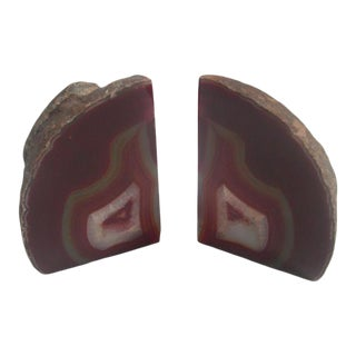 Red Multi-Colored Geode Bookends- a Pair For Sale