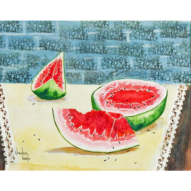 Watercolor on paper of still life with watermelons by Charlene Baker (20th Century) Texas. Signed lower left corner....