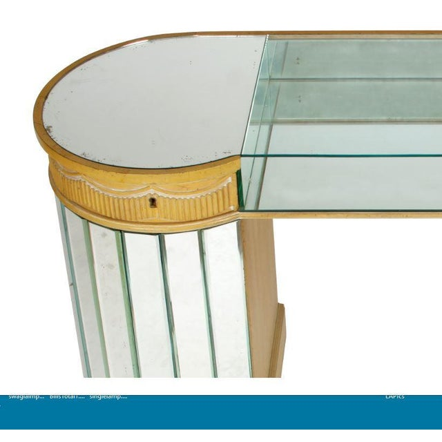 Deco curved mirrored dressing table.