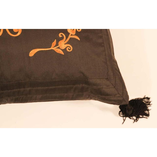 1980s Embroidered Black Silk Decorative Throw Pillow with Tassels For Sale - Image 5 of 11