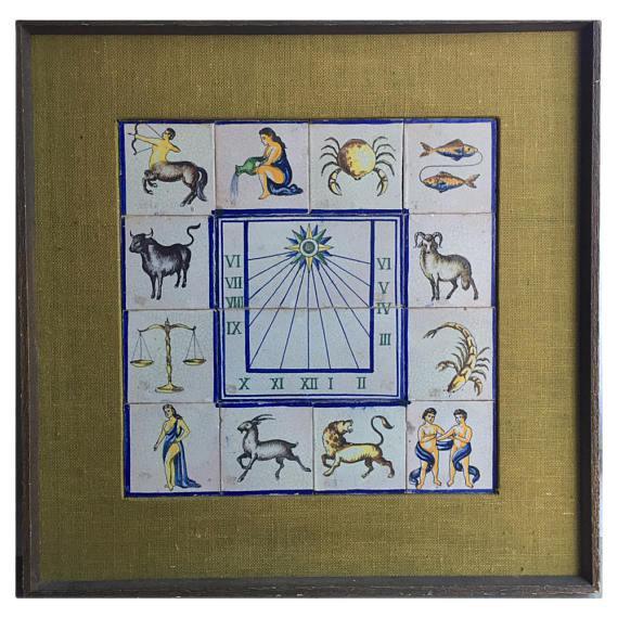 Wood Framed Mid-Century Modern Zodiac Tiles For Sale - Image 7 of 8