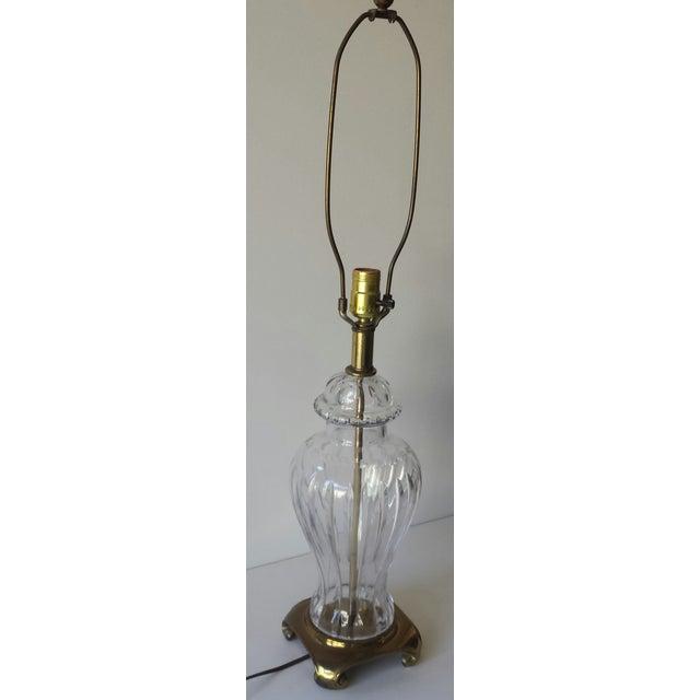 Crystal & Brass Ginger Jar Lamp For Sale - Image 9 of 9