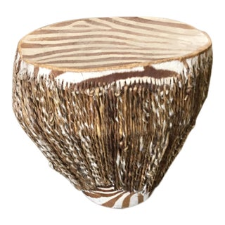 Vintage African Zebra Covered Drum Table For Sale