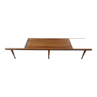 Vintage Mid-Century Modern Slat Bench Coffee Table For Sale