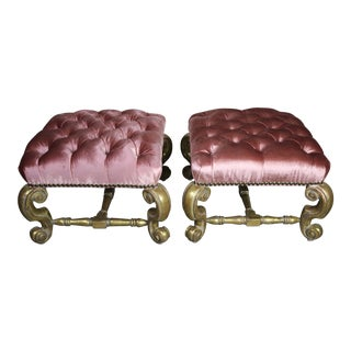 Pair of Gilt Wood Pink Velvet Benches For Sale