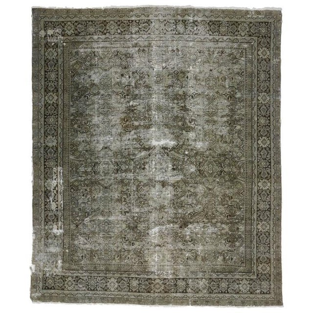 Distressed Antique Persian Mahal with Industrial Aesthetic For Sale In Dallas - Image 6 of 6
