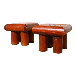 1960's Artisan Log Side Tables - A Pair