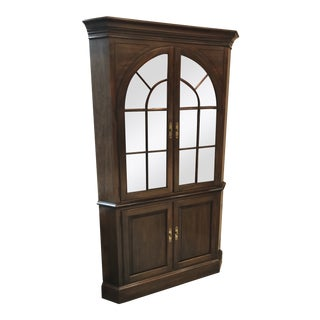 Ethan Allen Solid Cherry Corner Cabinet With Palladian Glass Doors For Sale