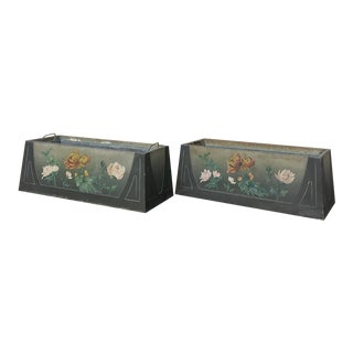 Pair French Art Deco Painted Jardinieres / Planter Boxes For Sale