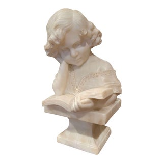 19th Century Italian Carved Marble Bust of a Young Girl Signed R. Bernardi Praga For Sale