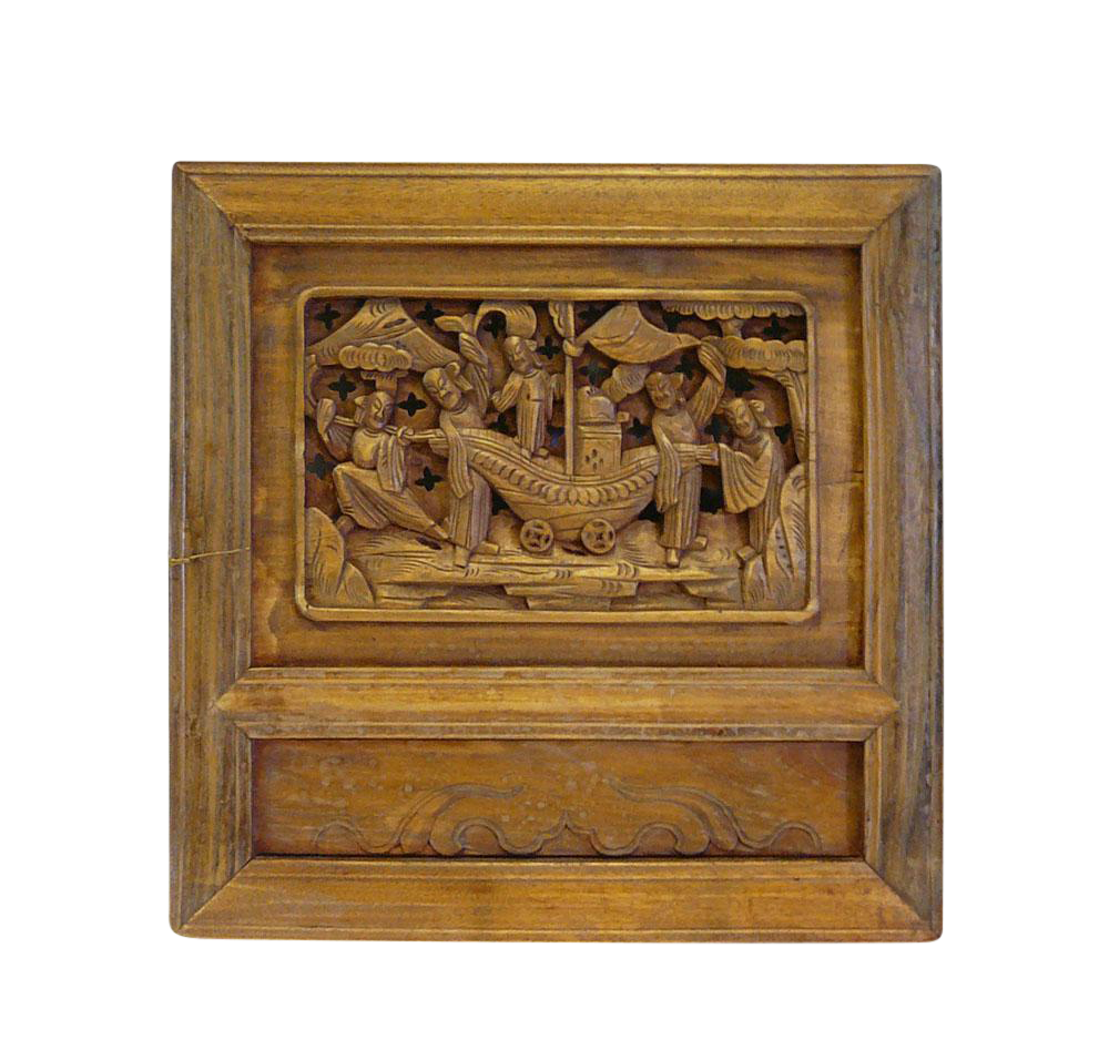 Th century french hand carved oak relief panel of st augustine