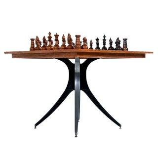 Macassar Ebony and Teak Exotic Hardwood Chess Set Table Set For Sale