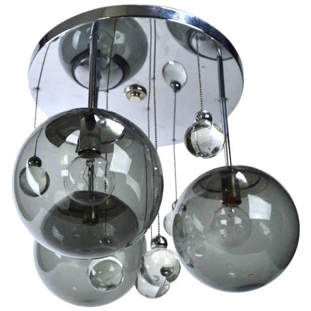Chrome Lightolier Flush Mount Bubble Chandelier For Sale