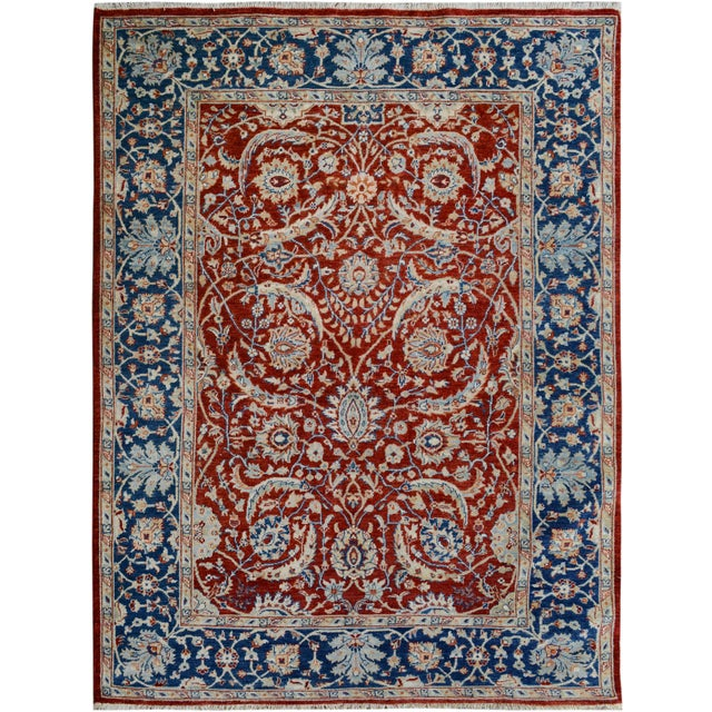 Textile Kafkaz Peshawar Abe Rust/Blue Hand-Knotted Rug - 6'0 X 7'11 For Sale - Image 7 of 8