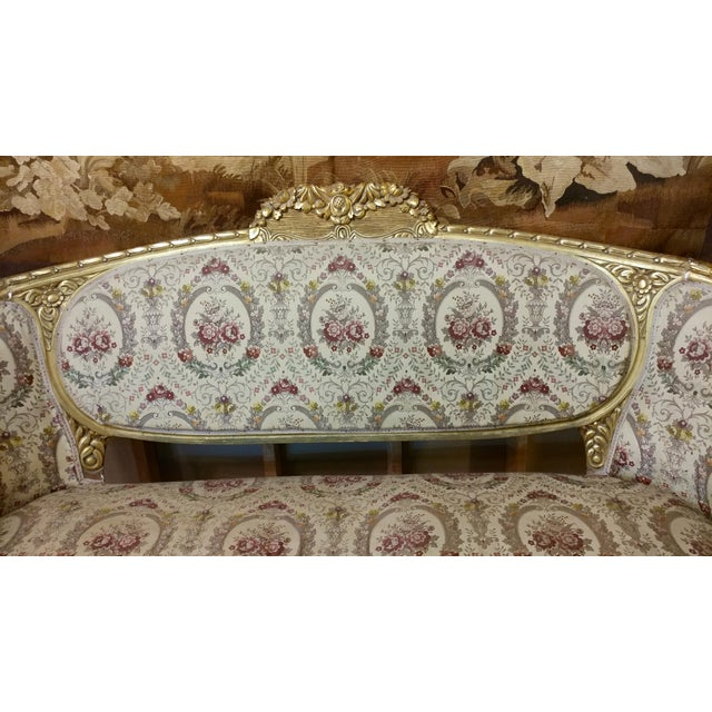 19th Century Beautiful Louis XV Carved Gilt & Tapestry Canopy Sofa For Sale In Los Angeles - Image 6 of 10
