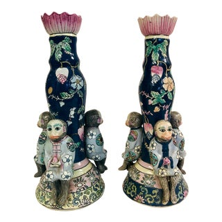 Pair of Chinoiserie Monkey Candle Holders For Sale