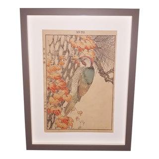 """Japanese Imao Keinen """"Picus Canus"""" Custom Framed Original Art For Sale"""