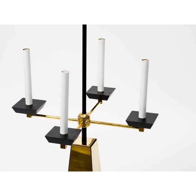 Mid-Century Modern Restored 1950s Brass Obelisk Lamp For Sale - Image 3 of 7