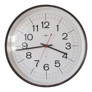 1950s Large Industrial Mid-Century Modern Howard Miller Metal School Clock For Sale