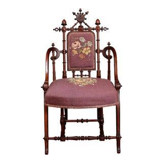 Hunzinger Needlepoint Walnut Chair For Sale