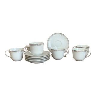 Royal Doulton English Porcelain Paramount Platinum Teacups and Saucers - Set of 6 For Sale