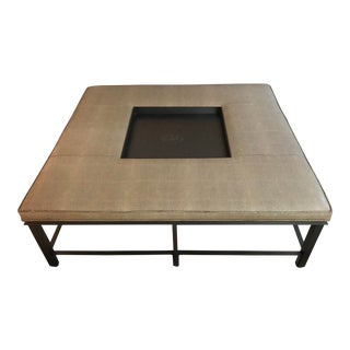 Transitional Baker Fabric and Steel Square Coffee Table For Sale