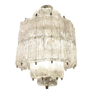 Barovier and Toso Textured Glass Chandelier, Italy, 1950's For Sale