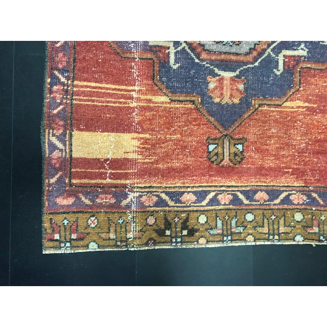 Boho Decorative Orange and Purple Turkish Handmade Vintage Runner Rug For Sale - Image 10 of 11