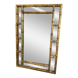 1970's Chinoiserie Gold Gilt Wall Mirror For Sale