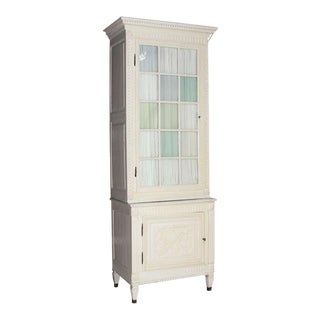 Two Part Step Back Painted White Faux finish Cupboard Vitrine