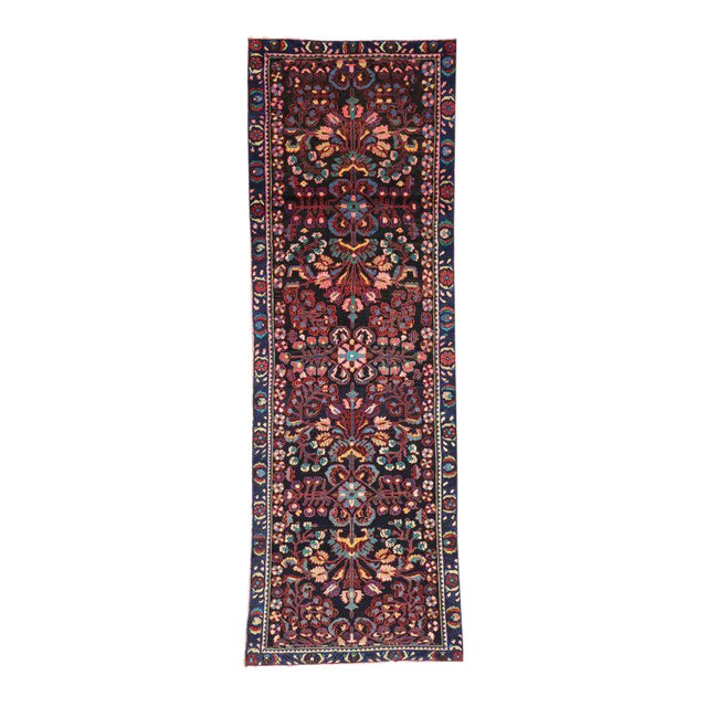 Antique Persian Bakhtiari Runner with Modern Style in Vibrant Colors For Sale