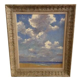 1960s Vintage David Eugene Henry Ocean and Clouds Oil Painting, Framed For Sale