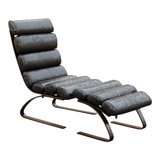 Faux Snakeskin Vinyl & Bronzed Metal Lounge Chair & Ottoman
